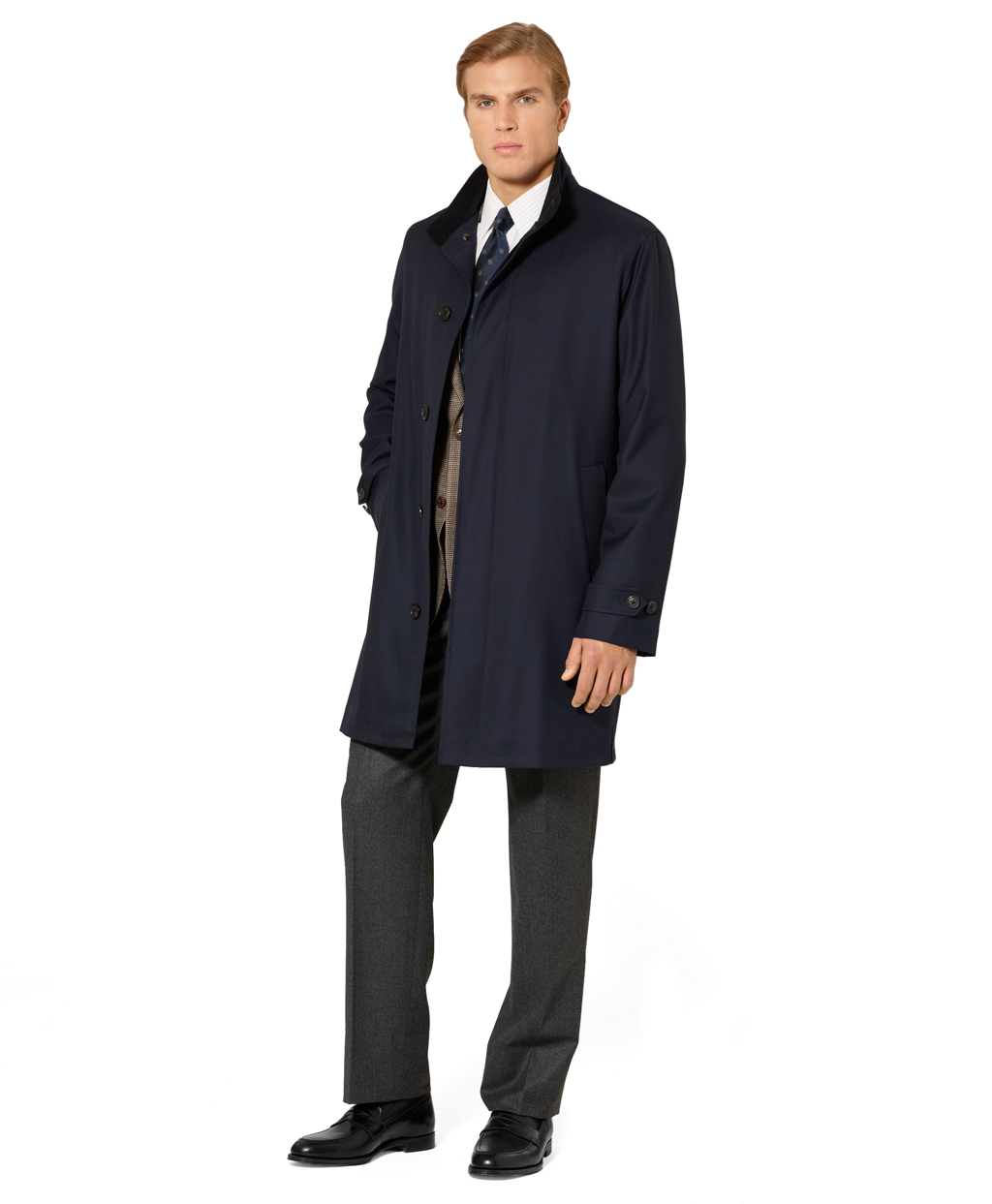 Brooks brothers Cotton Car Coat in Blue for Men | Lyst