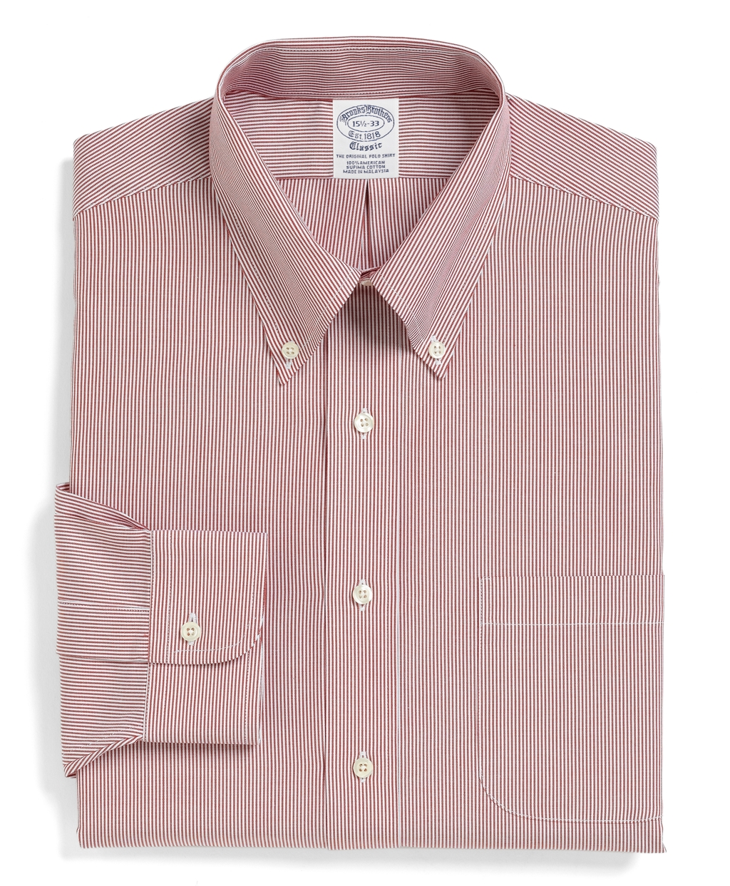 Brooks brothers traditional fit stripe dress shirt in red for Brooks brothers dress shirt fit