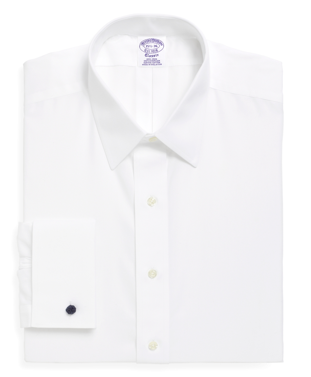 Brooks brothers non iron madison fit point collar french for White non iron dress shirts