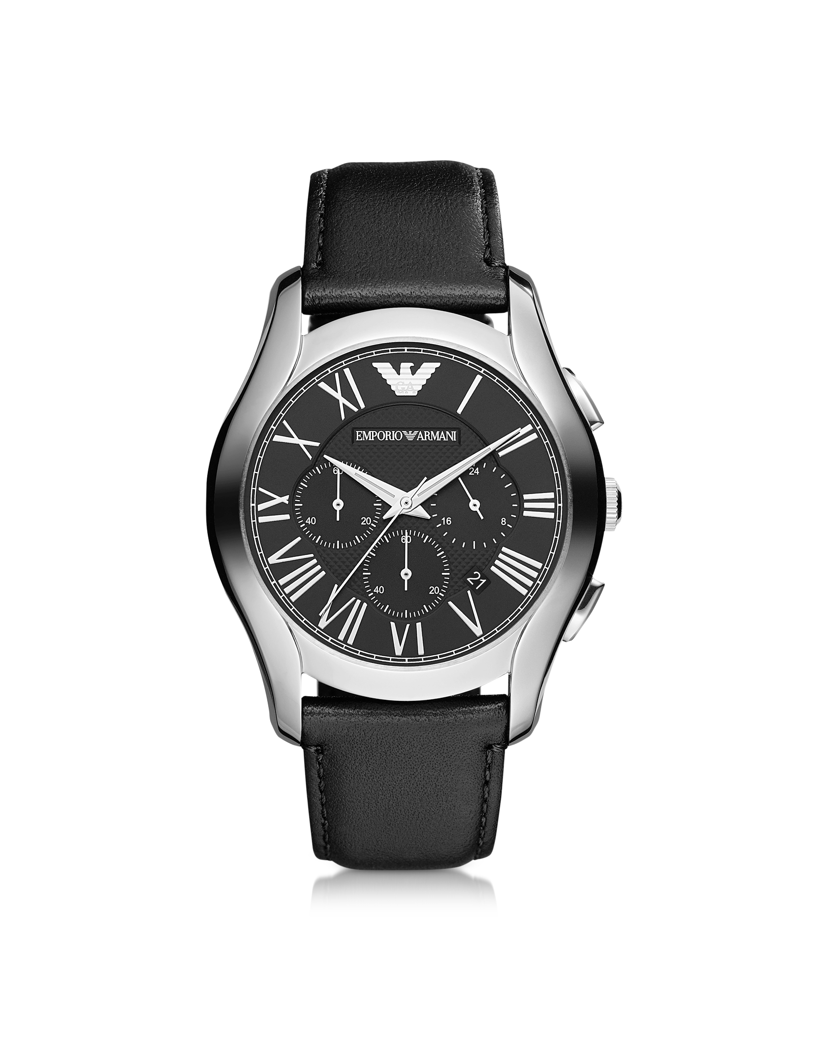 lyst emporio armani valente black leather strap chronograph watchmen 39 s watch in black for men