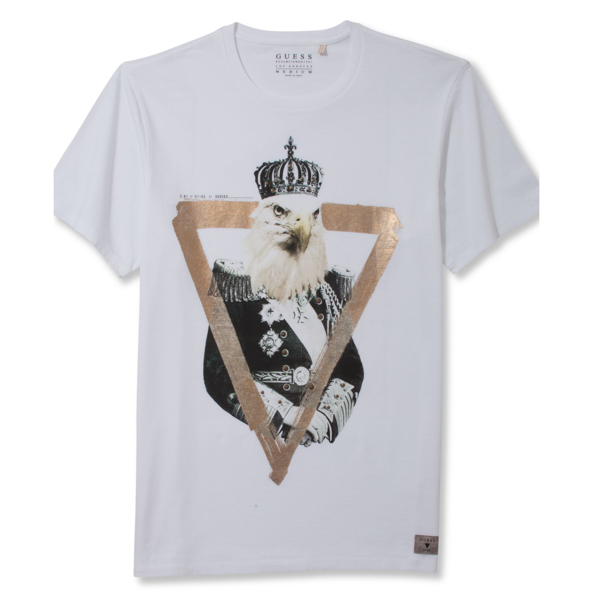 guess shirt short sleeve eagle graphic t shirt in white. Black Bedroom Furniture Sets. Home Design Ideas
