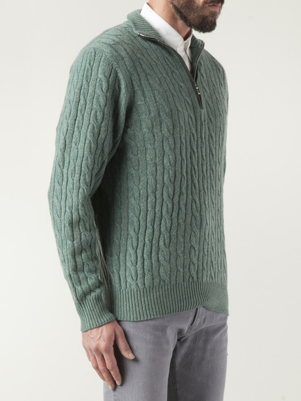 Loro Piana Cashmere Ribbed Collar Sweater In Green For Men
