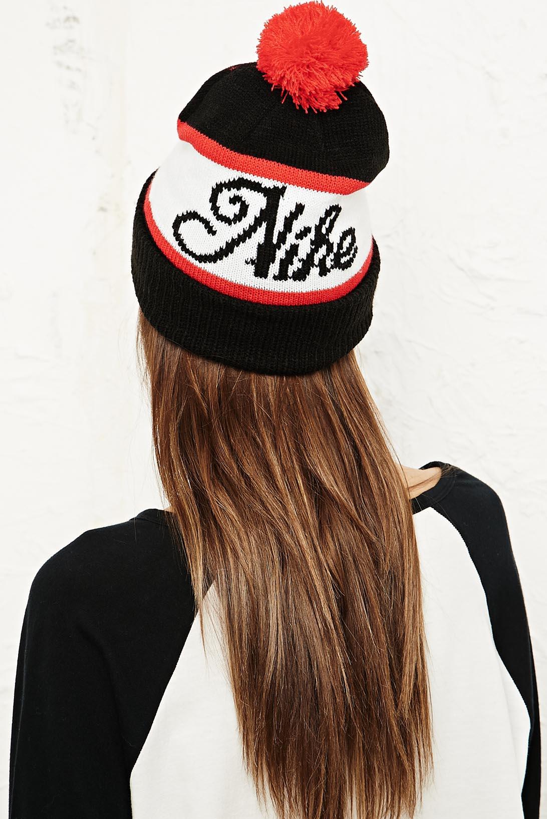 7c265d14eaf Nike Old Snow Beanie Hat in Black in Black - Lyst