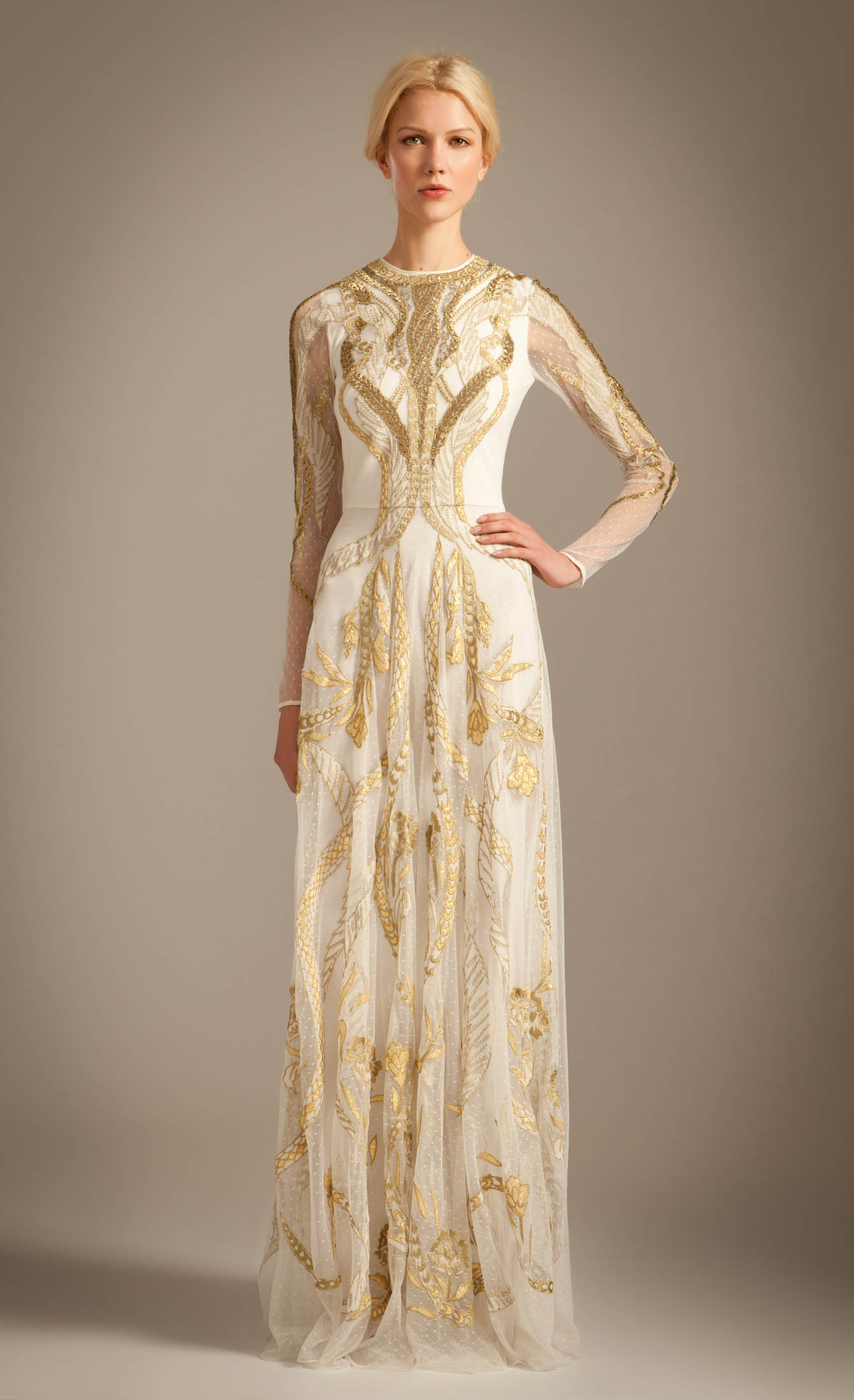 Lyst - Temperley London Long Aya Show Dress in Metallic