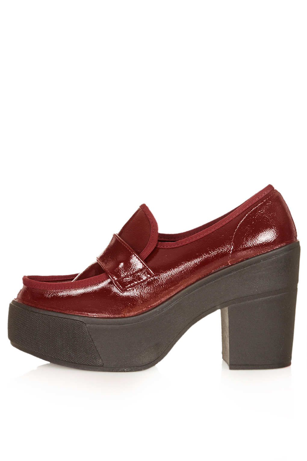 Lyst Topshop Jagg Patent Chunky Loafers In Red