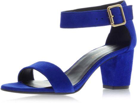 Topshop Nina Block Heel Sandals In Blue Navy Blue Lyst