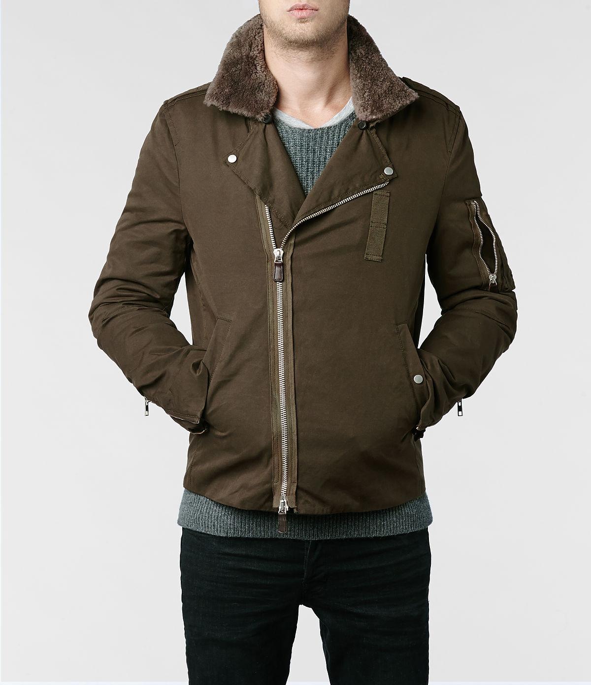 Lyst  Allsaints Thorin Biker Jacket In Natural For Men