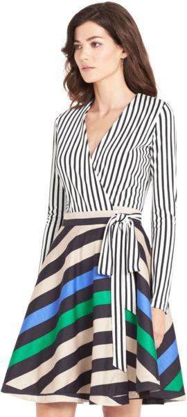 Dvf Amelia Silk Combo Flared Wrap Dress Amelia Silk Combo Wrap