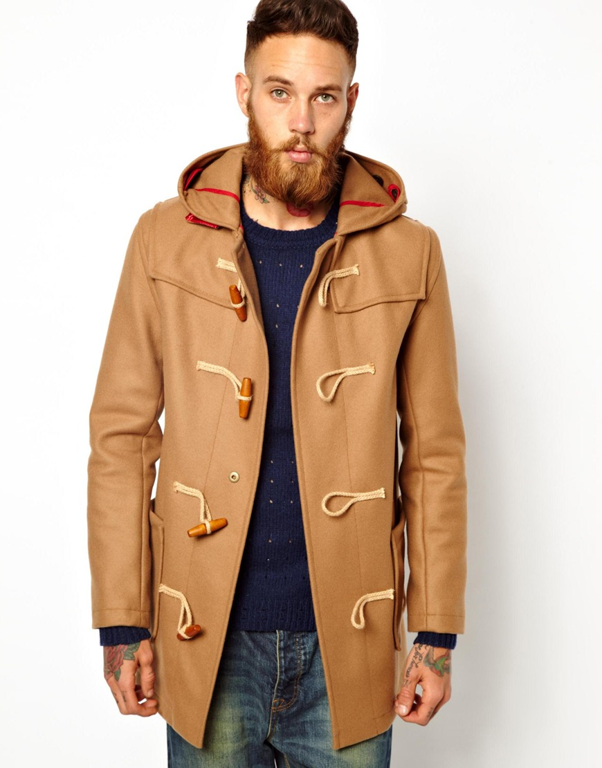 Gloverall Duffle Coat in Melton Wool in Brown for Men | Lyst