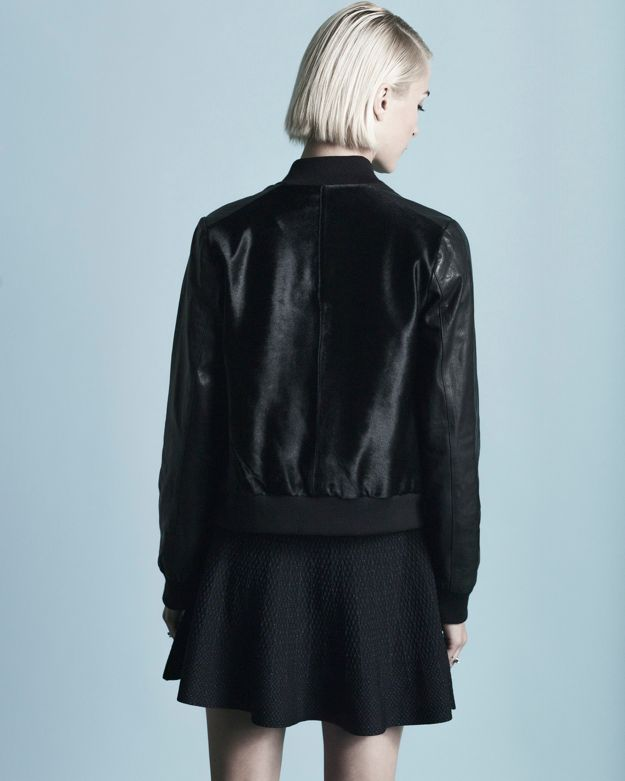 Vince Calf Hair Leather Combo Bomber Jacket In Black Lyst