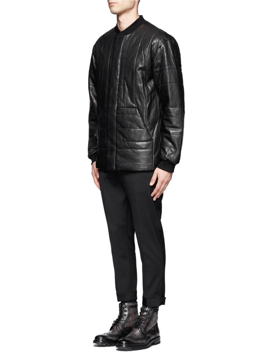 Alexander Wang Quilted Leather Bomber Jacket in Black for ...