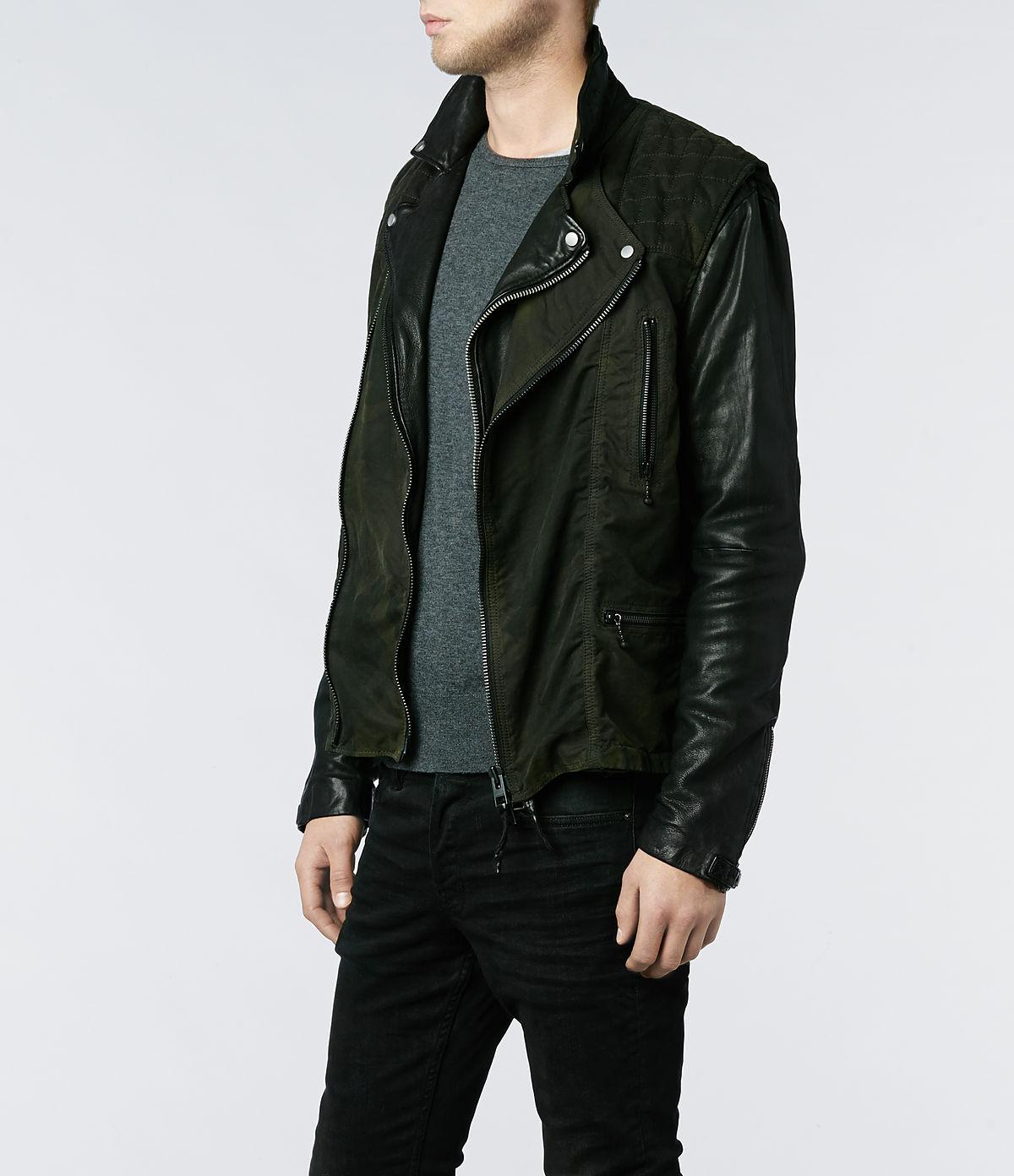 AllSaints Roule Leather Biker Jacket in Black for Men