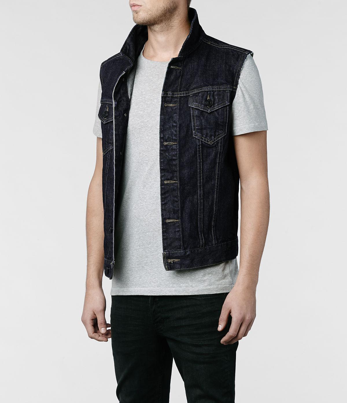 AllSaints Iwate Sleeveless Denim Jacket in Indigo (Blue) for Men