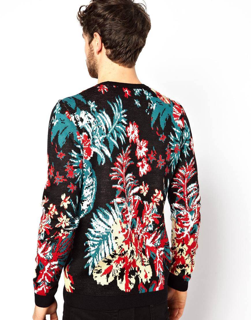 Replay Floral Sweater in Black for Men | Lyst