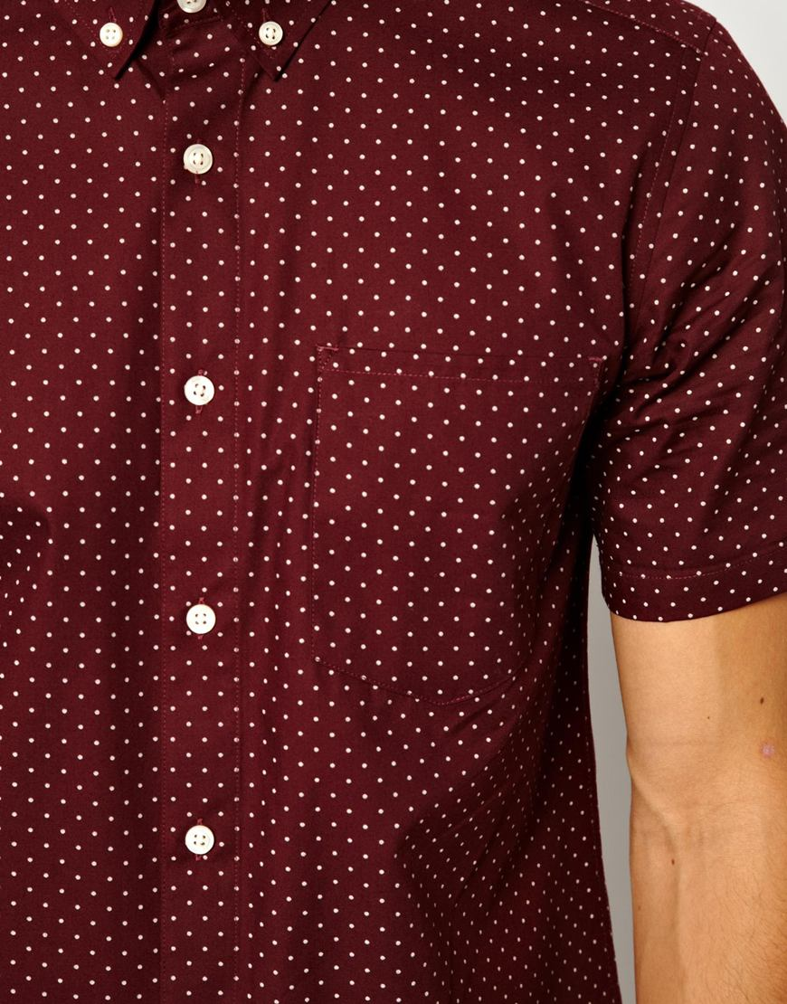 Asos Shirt In Short Sleeve With Polka Dot Print In Red For