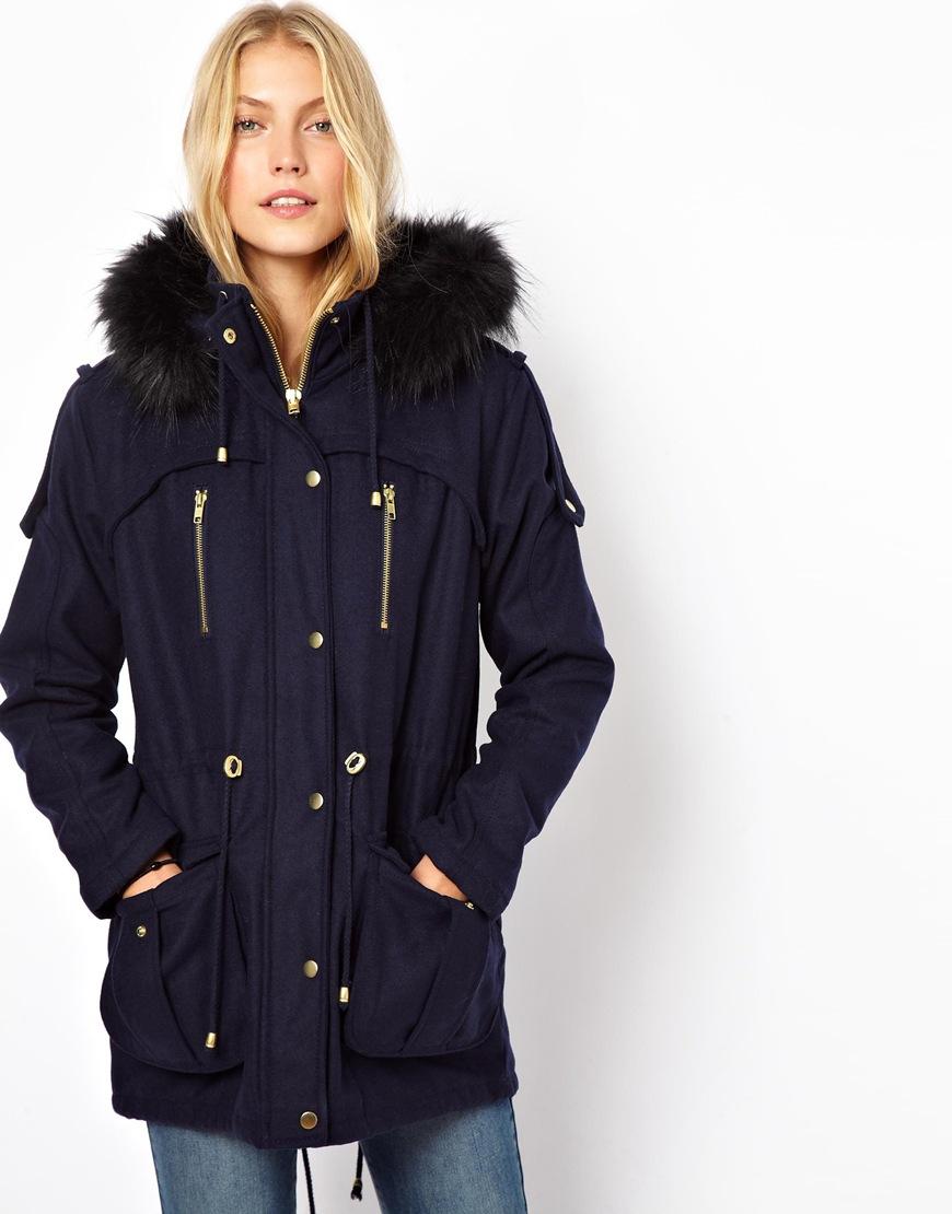 Navy Blue Parka Coat Womens