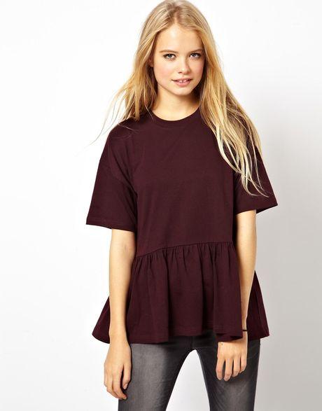 Asos Oversized Smock T-Shirt In White Purple  Lyst-2146
