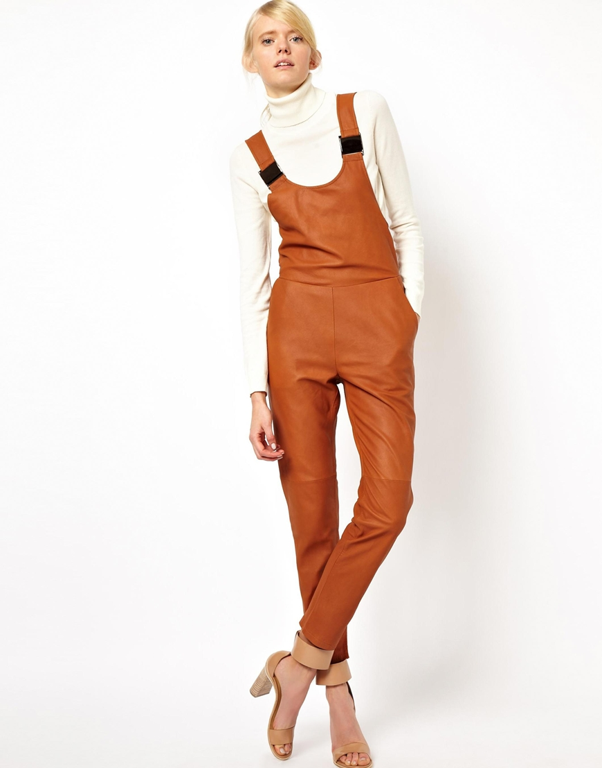Asos Dungarees In Leather In Brown Lyst