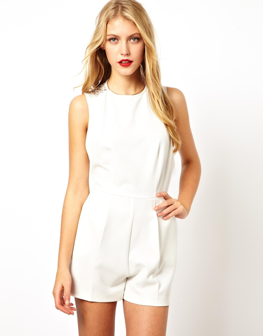 c6609064667c Lyst - ASOS Playsuit with Lace Back in White