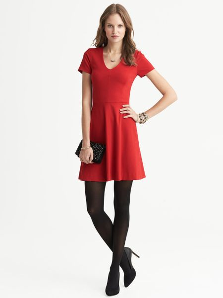 Banana Republic Seamed Ponte Fit And Flare V Neck Dress