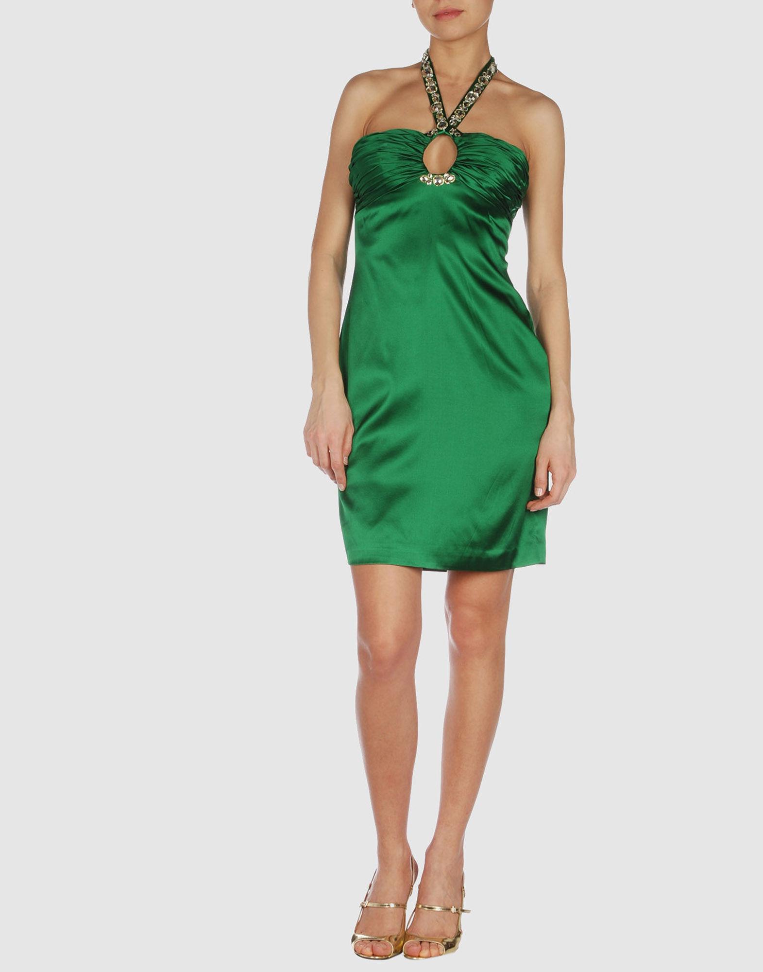 basix black label short dress in green emerald green lyst