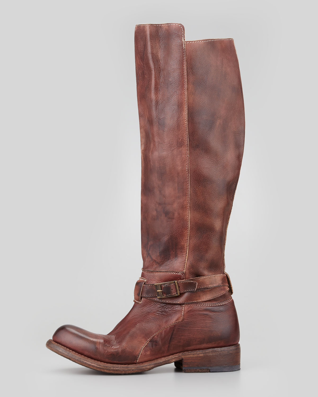 bed stu bristol rustic boot teak in brown | lyst