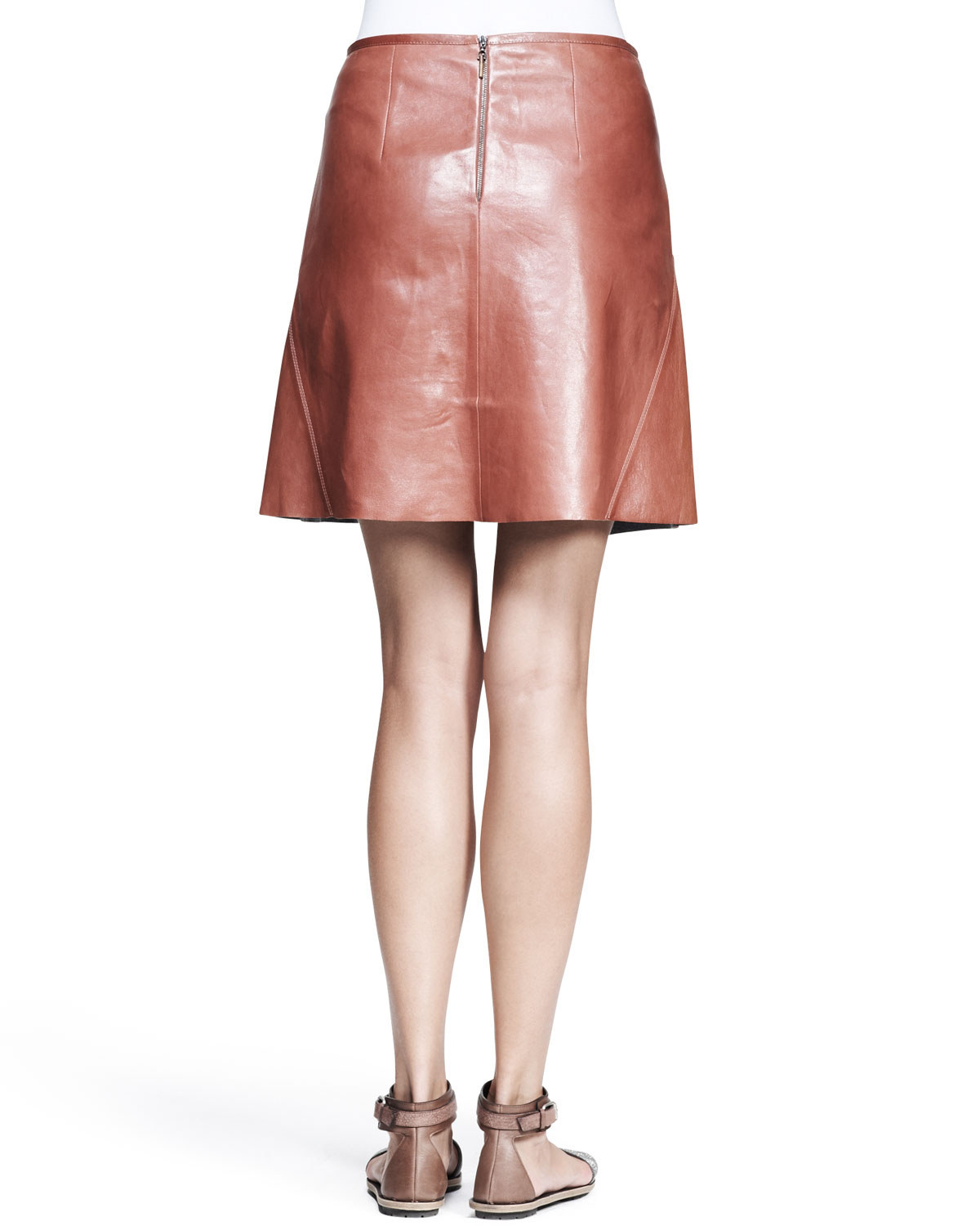 Brunello cucinelli Shiny Leather Swing Skirt in Red | Lyst