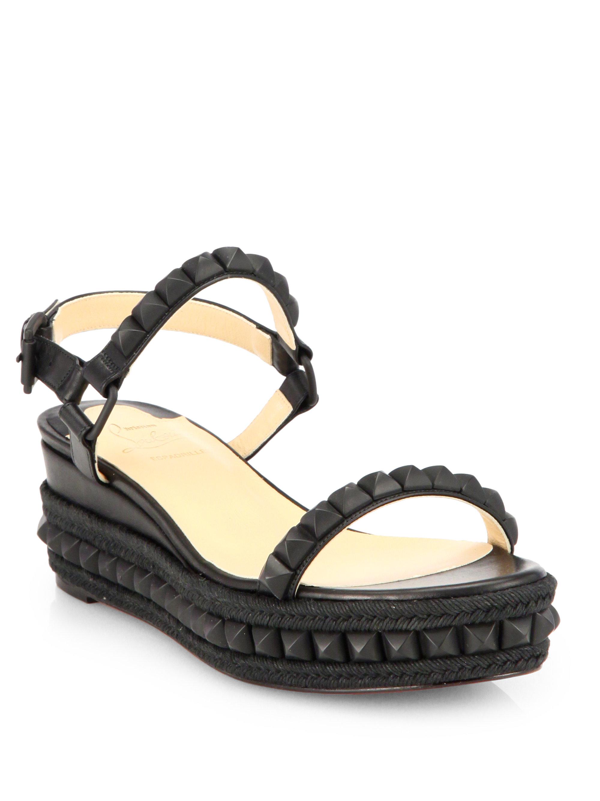 fd4886a6c5c Christian Louboutin Black Cataclou Studded Wedge Sandals