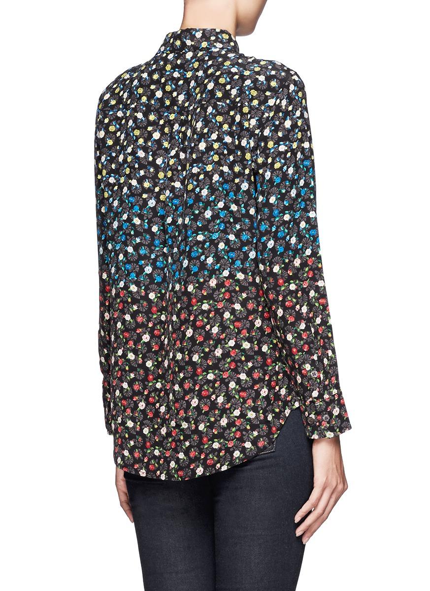 Lyst equipment floral print button down shirt for Floral print button up shirt