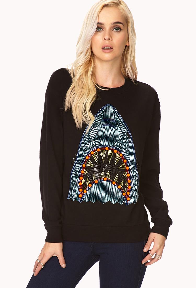 Lyst Forever 21 Fancy Shark Sweatshirt In Blue