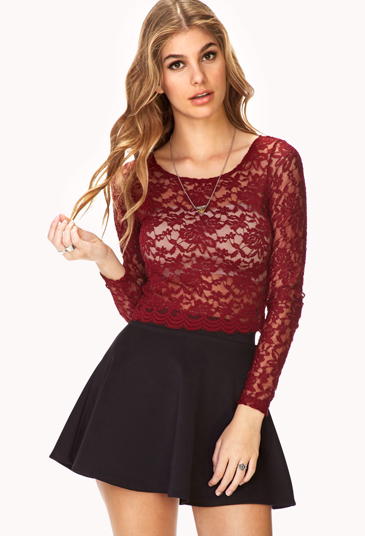 Forever 21 Poetic Floral Lace Crop Top In Red Lyst