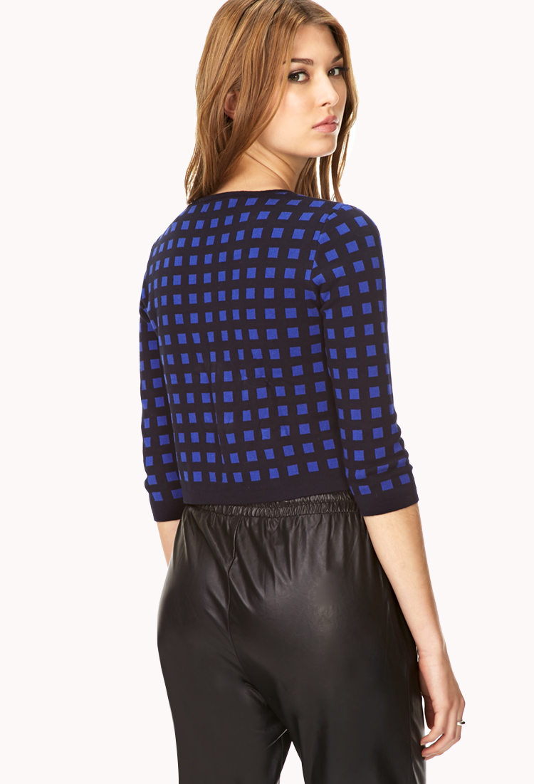 Forever 21 Retro Grid Cropped Sweater in Blue (NAVY/ROYAL ...