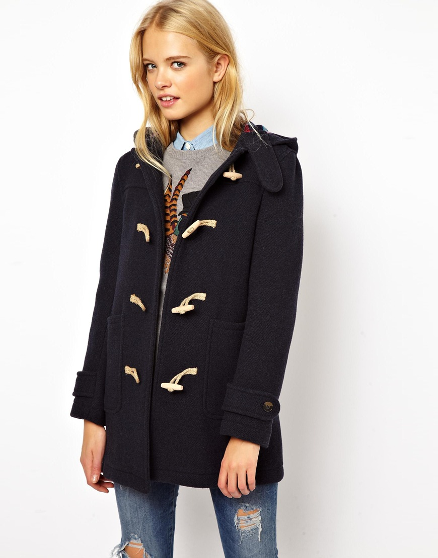 Jack wills Wool Duffle Coat with Check Lining in Blue | Lyst