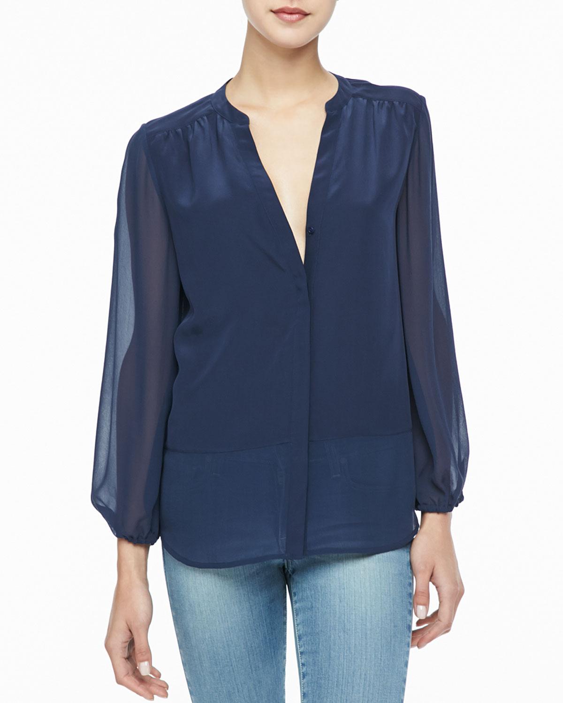 16bf1bcc38c21 Joie Mercina Sheer Silk Blouse in Blue - Lyst