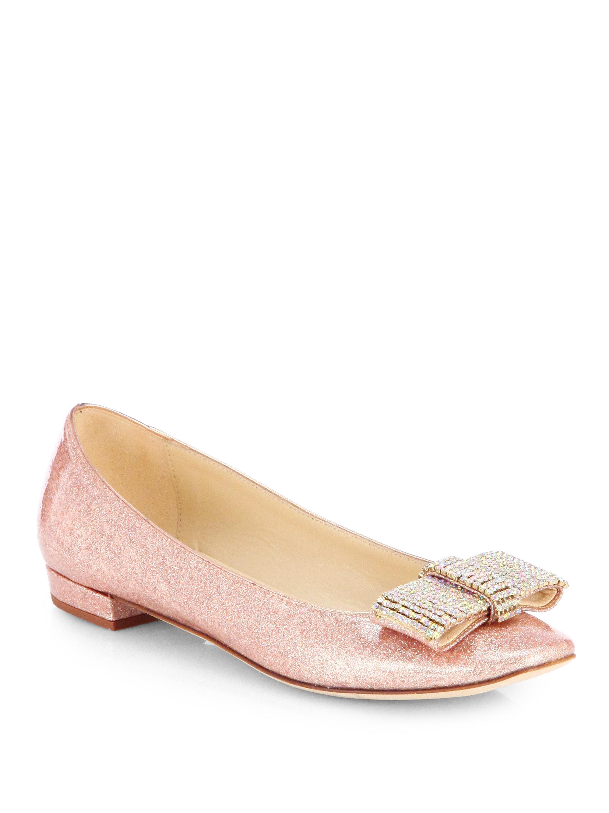 b3ed002f903 Kate Spade Niesha Glitter Bow Ballet Flats in Pink - Lyst