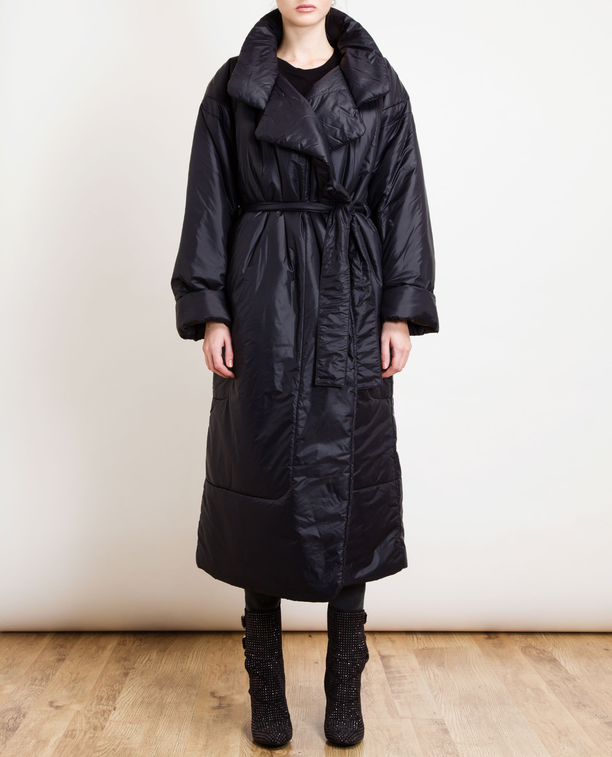 Lyst Norma Kamali Reversible Sleeping Bag Long Coat In Black