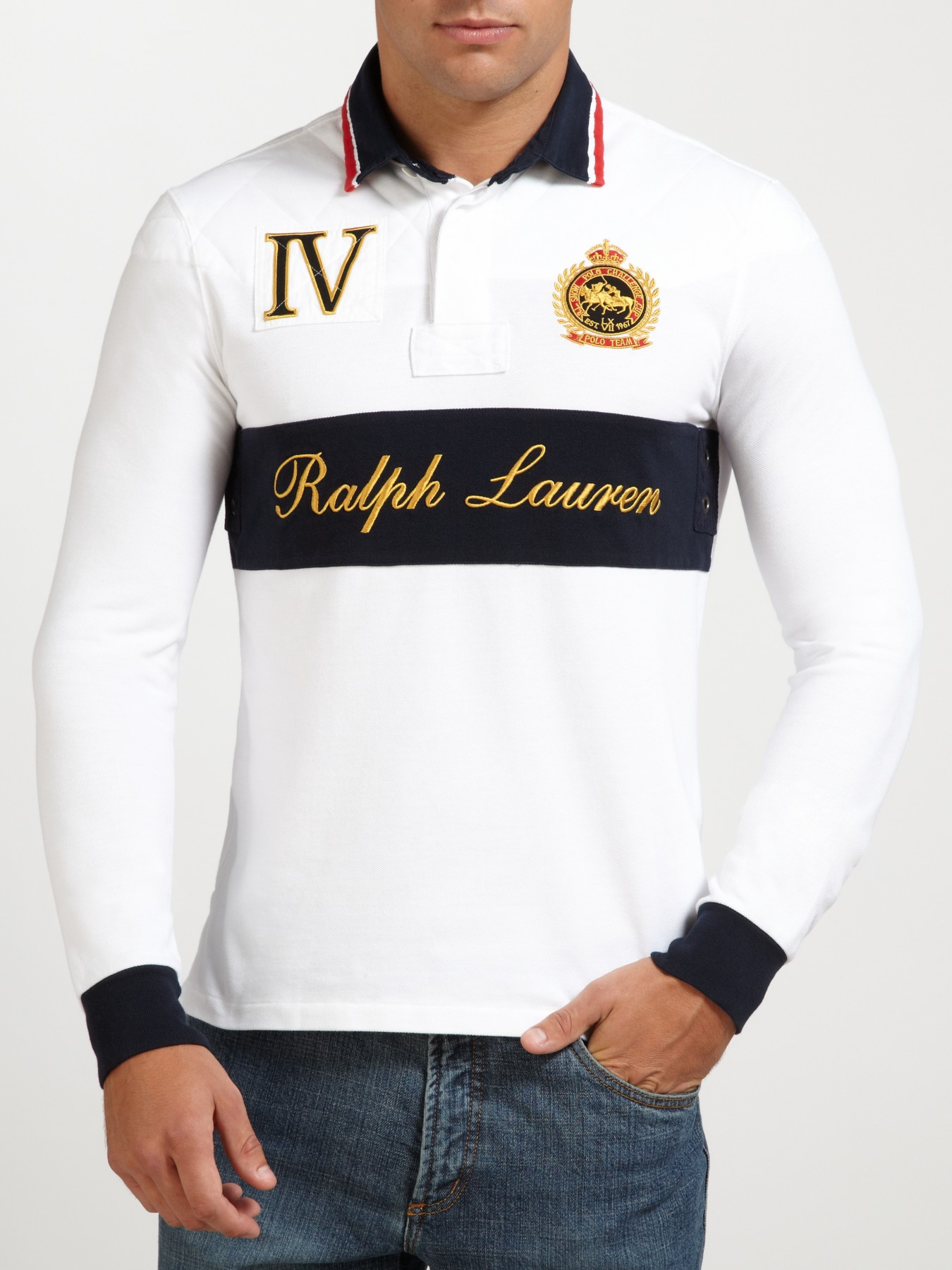 20057d63266b7 Polo Ralph Lauren Crested Long Sleeve Polo Top in White for Men - Lyst
