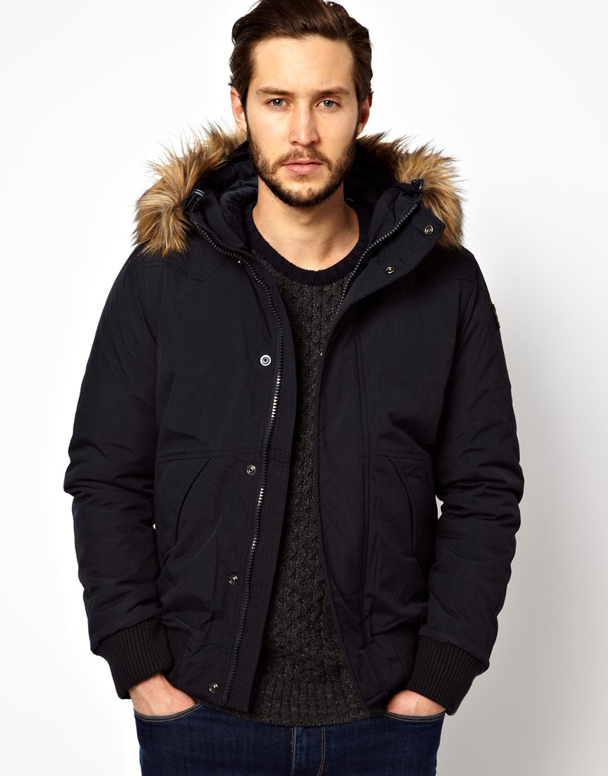 Edwin Cropped Parka with Faux Fur Hood in Blue for Men | Lyst