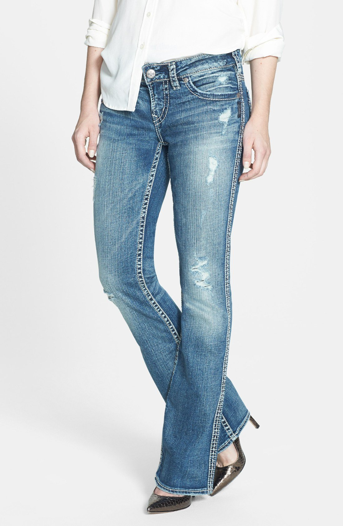 Silver Aiko Bootcut Jeans Bbg Clothing