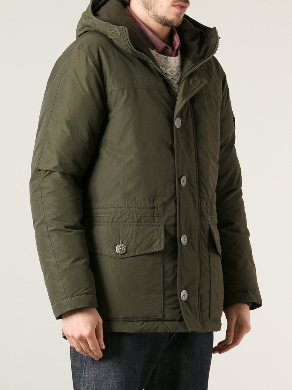Stone Island Hooded Jacket in Green for Men - Lyst