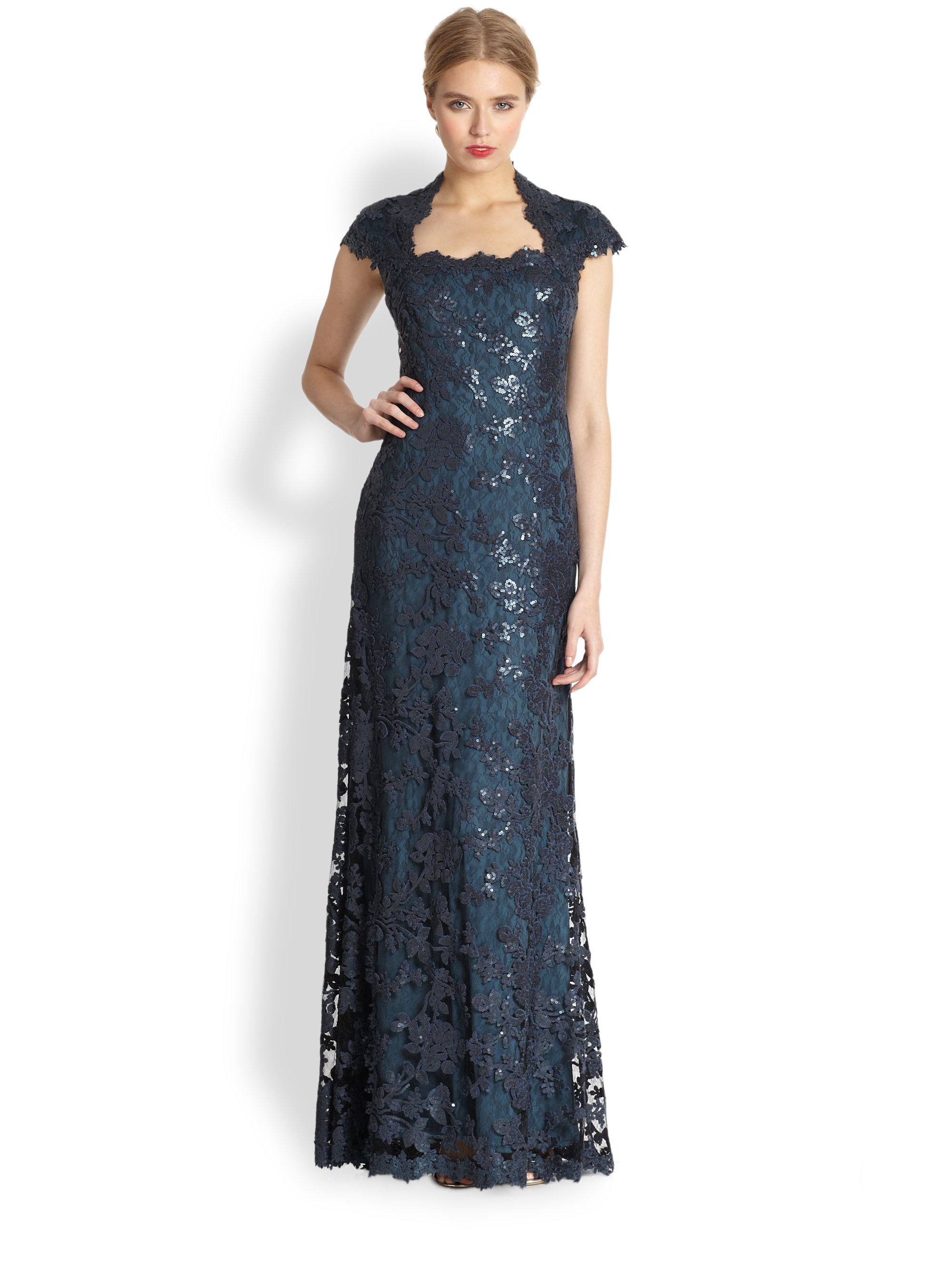 Lyst - Tadashi Shoji Sequin Lace Capsleeve Gown in Blue