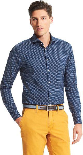 tommy hilfiger slim fit shirt in blue for men lyst. Black Bedroom Furniture Sets. Home Design Ideas