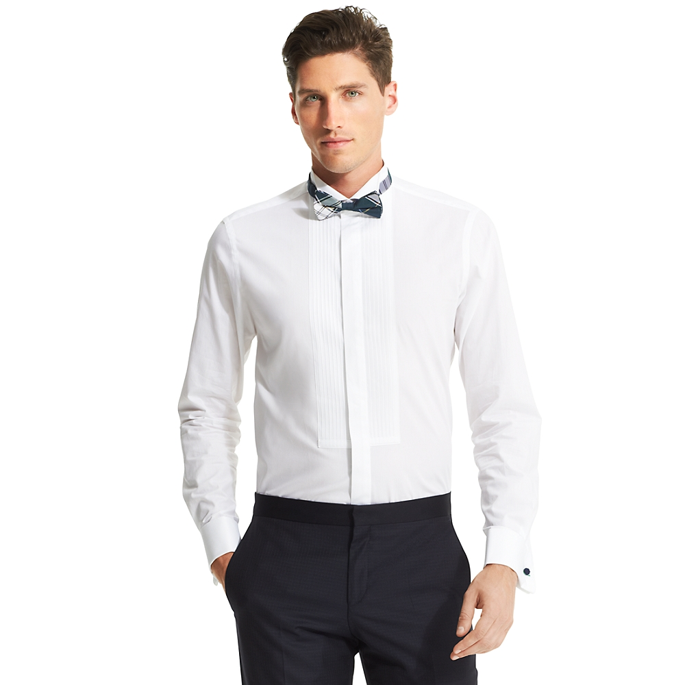 tommy hilfiger slim fit front tuxedo shirt in white for