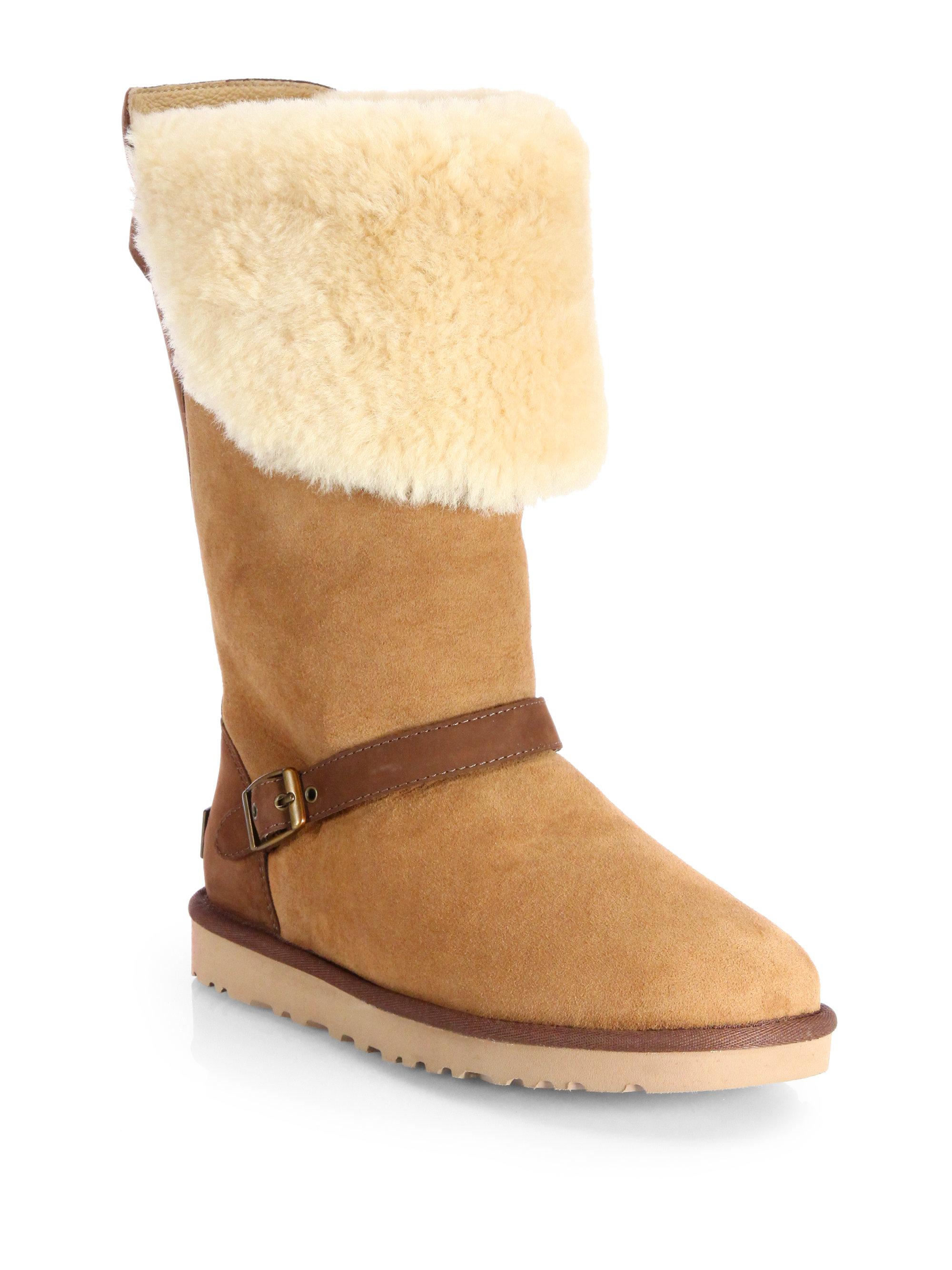 d5344d93bcf UGG Brown Ciera Shearlingtrimmed Suede Boots