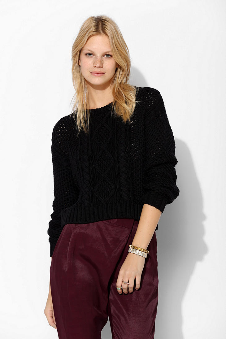 Urban Outfitters Bdg Cableknit Cropped Sweater In Black Lyst