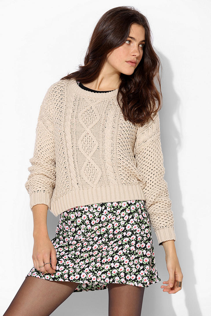 Urban Outfitters Bdg Cableknit Cropped Sweater In Natural