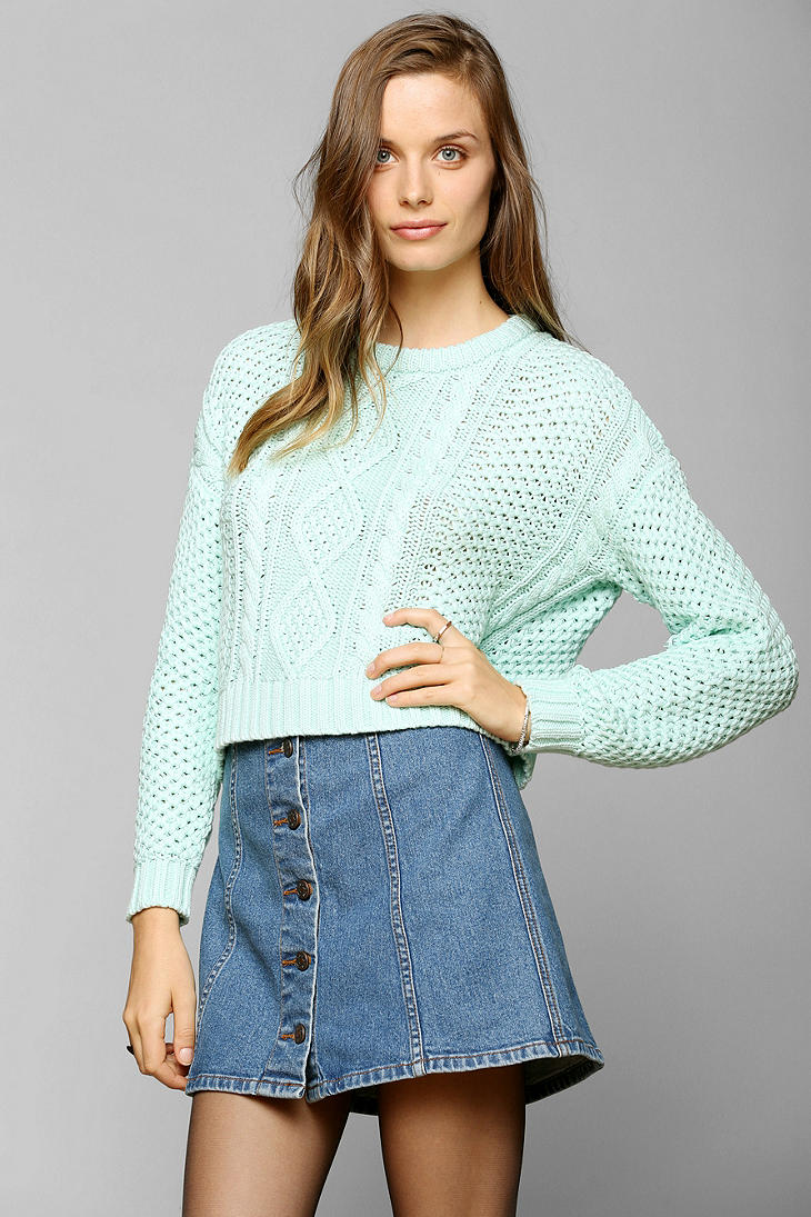 Urban Outfitters Bdg Cableknit Cropped Sweater In Green Lyst