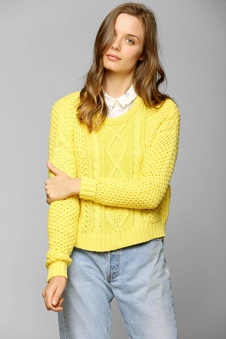 Lyst Urban Outfitters Bdg Cableknit Cropped Sweater In Yellow