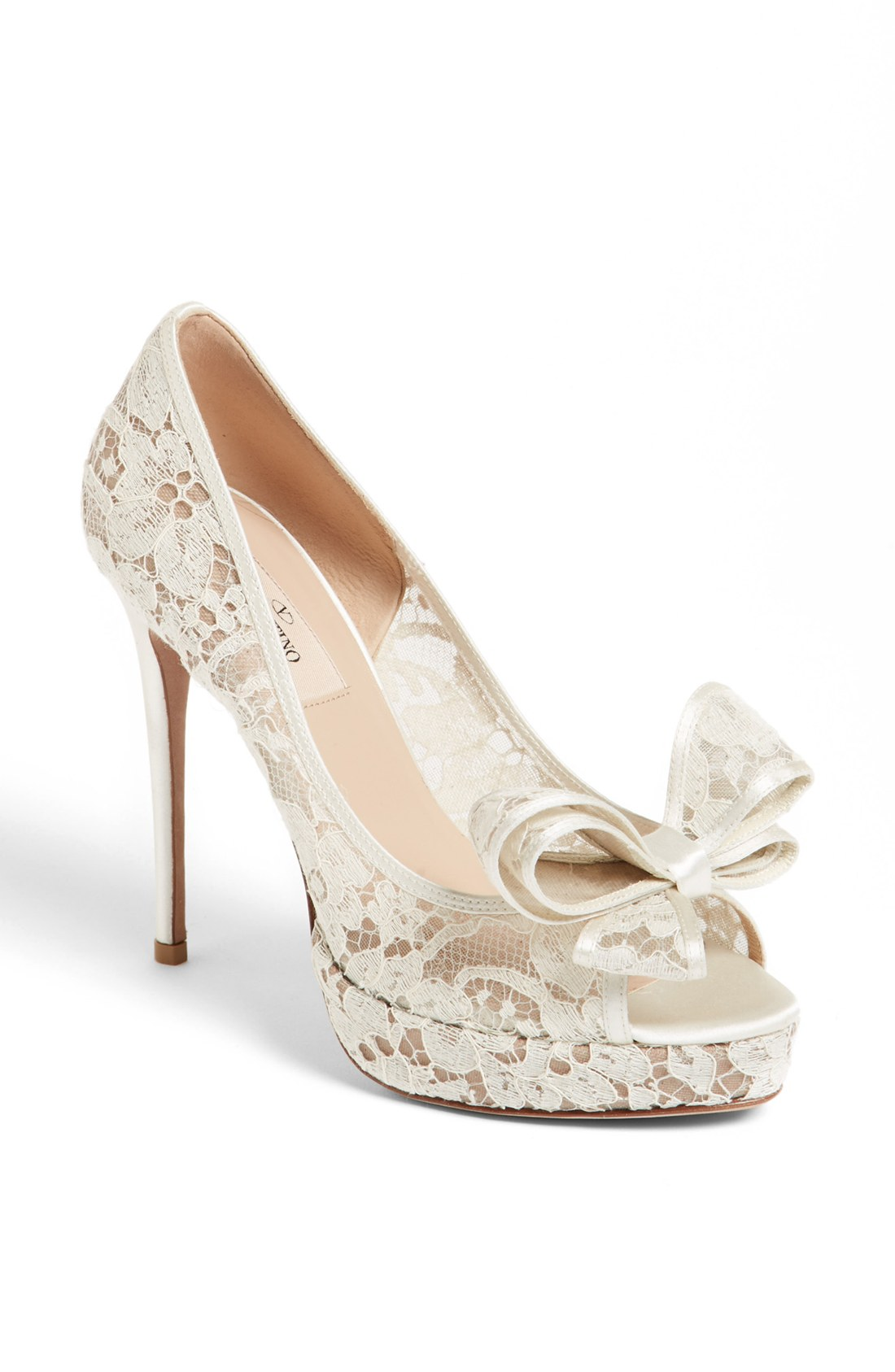 Valentino Lace Couture Bow Open Toe Pump in White (Ivory ...