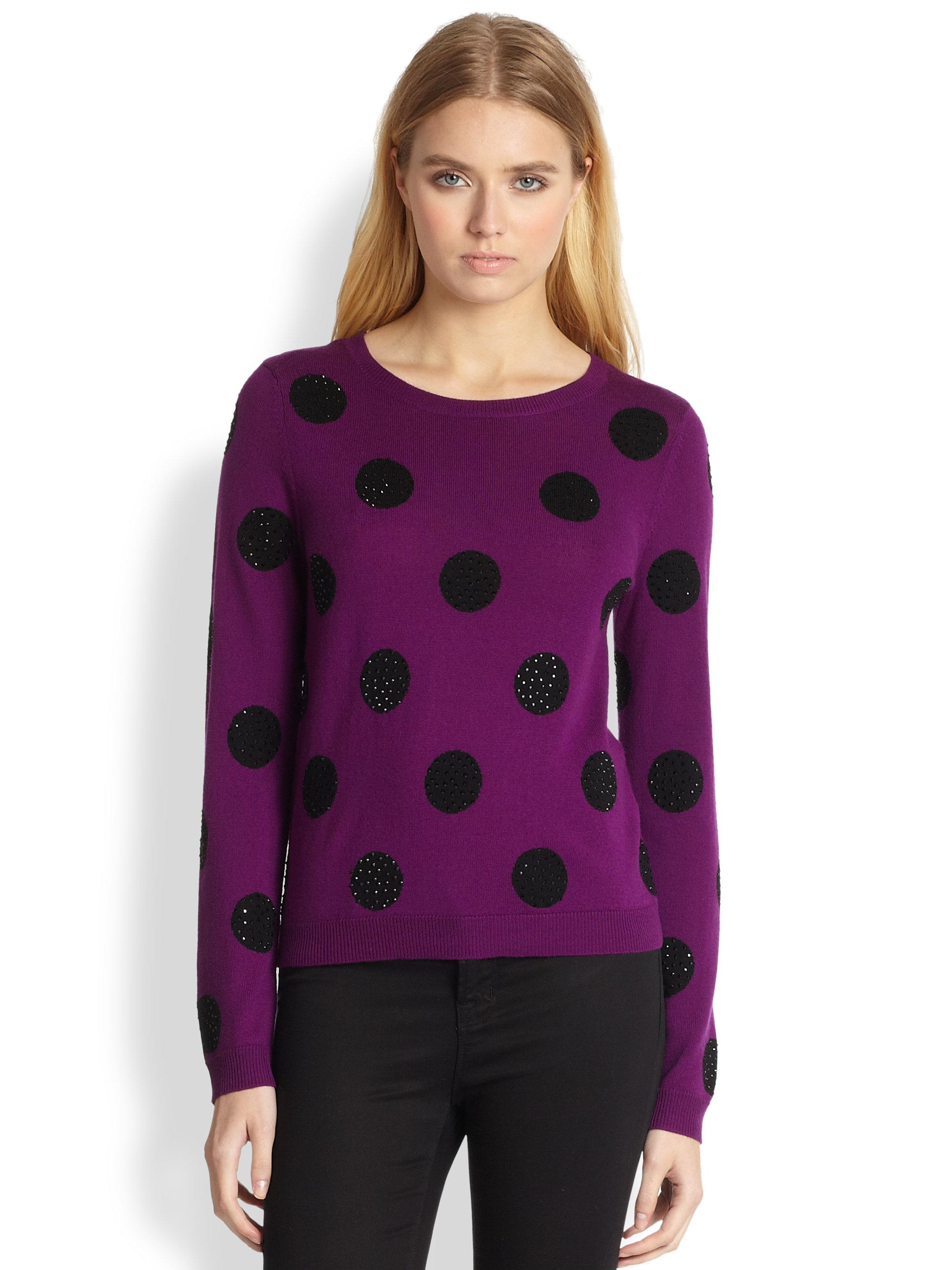 Alice   olivia Celyn Embellished Polkadot Sweater in Purple | Lyst